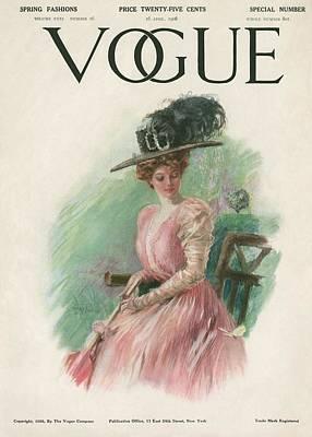 1900s Photograph - A Vintage Vogue Magazine Cover Of A Woman by Stuart Travis