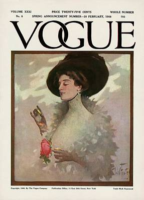 A Vintage Vogue Magazine Cover Of A Woman Art Print by Will Foster
