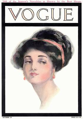 Updo Photograph - A Vintage Vogue Magazine Cover Of A Young Woman by Helen Dryden