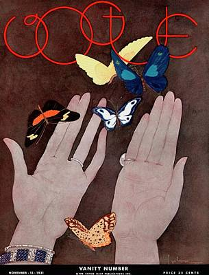 Photograph - A Vintage Vogue Magazine Cover Of Butterflies by Georges Lepape