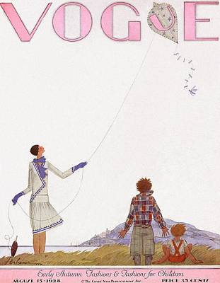 Kite Photograph - A Vintage Vogue Magazine Cover Of Two Children by Georges Lepape