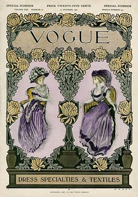 A Vintage Vogue Magazine Cover Of Two Women Art Print