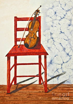 A Violin In Repose Watercolor Painting Art Original by Valerie Garner