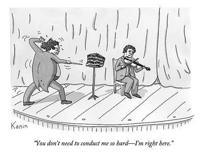 Violin Drawing - A Violinist Speaks To A Wildly Gesturing by Zachary Kanin