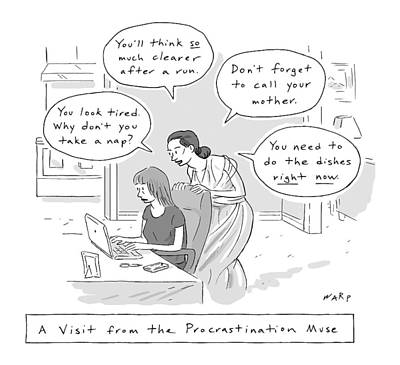 Drawing - A Visit From The Procrastination Muse -- A Greek by Kim Warp
