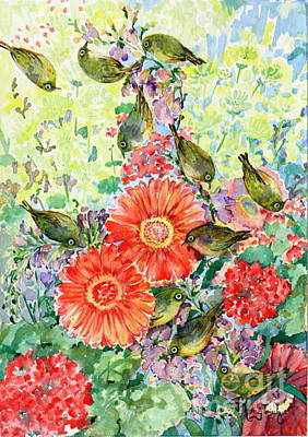 Natural Painting - A Visit Of The Silvereyes by Phong Trinh
