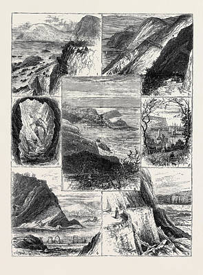 Cavern Drawing - A Visit To Ilfracombe, 1. View From The Hotel Garden. 2 by English School