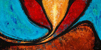 Abstract Flower Painting - A Visit With Ama - Vibrant Abstract Flower Art By Sharon Cummings by Sharon Cummings