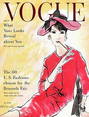 1950s Fashion Photograph - A Vogue Cover Illustration Of Isabella Albonico by Rene R. Bouche