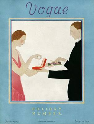 1920s Fashion Photograph - A Vogue Cover Of A Couple Exchanging Gifts by Andre E.  Marty