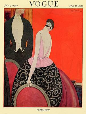 Fashion Illustration Wall Art - Photograph - A Vogue Cover Of A Couple In Formalwear by Georges Lepape