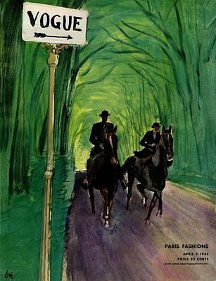 A Vogue Cover Of A Couple Riding Horses Art Print