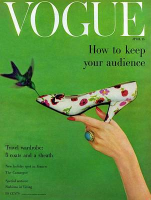 Green Background Photograph - A Vogue Cover Of A Floral Dior High Heel by Richard Rutledge
