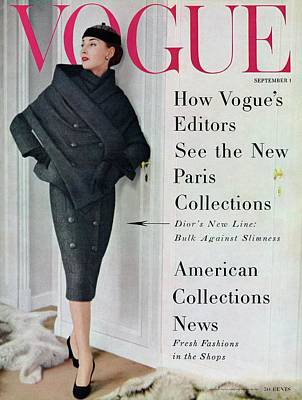 1950s Fashion Photograph - A Vogue Cover Of A Model Wearing A Dior Suit by Henry Clarke