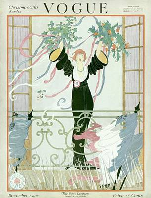 A Vogue Cover Of A Woman Above A Parade Art Print by Helen Dryden