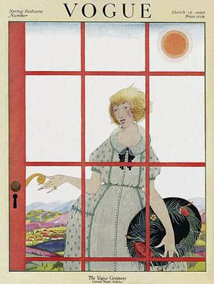 1920s Fashion Photograph - A Vogue Cover Of A Woman At A Door by Harriet Meserole
