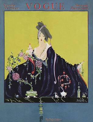 A Vogue Cover Of A Woman At A Vanity Art Print by Robert Kalloch