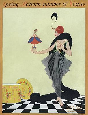 1914 Photograph - A Vogue Cover Of A Woman Holding A Doll by Helen Dryden