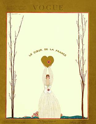 A Vogue Cover Of A Woman Holding A Gold Heart Print by Georges Lepape