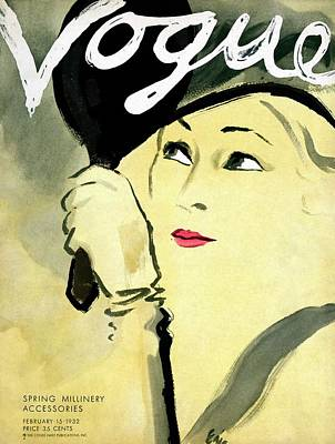 Oscar Photograph - A Vogue Cover Of A Woman Holding A Mirror by Carl Oscar August Erickson
