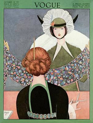 Vintage Hats Photograph - A Vogue Cover Of A Woman Holding A Scarf by George Wolfe Plank