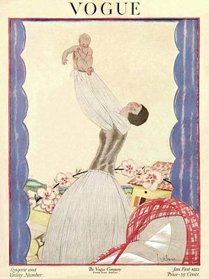 1920s Fashion Photograph - A Vogue Cover Of A Woman Holding Her Baby Aloft by Georges Lepape