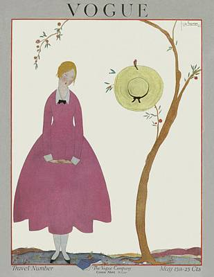 Straw Hats Photograph - A Vogue Cover Of A Woman In A Pink Dress by Georges Lepape