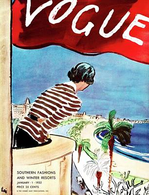 Oscar Photograph - A Vogue Cover Of A Woman Leaning Over A Balcony by Carl Oscar August Erickson