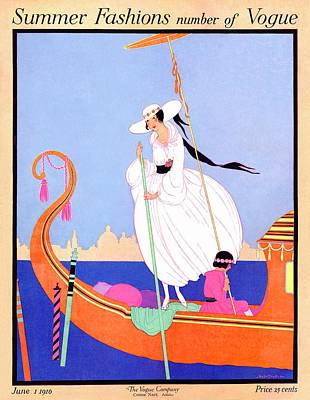 1916 Photograph - A Vogue Cover Of A Woman On A Gondola by Helen Dryden