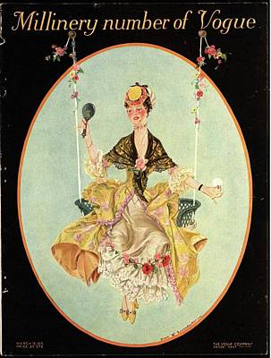 Vintage Hats Photograph - A Vogue Cover Of A Woman On A Swing by Frank X. Leyendecker
