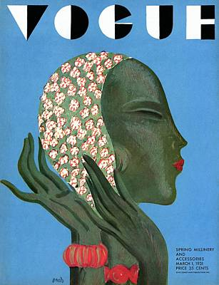 Photograph - A Vogue Cover Of A Woman Putting On A Hat by Eduardo Garcia Benito