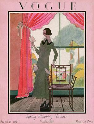 A Vogue Cover Of A Woman Reading A Letter Art Print by Harriet Meserole