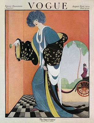 A Vogue Cover Of A Woman Ringing A Doorbell Art Print by George Wolfe Plank
