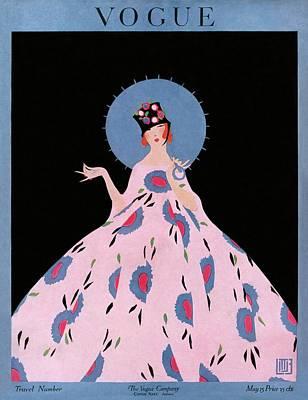 Photograph - A Vogue Cover Of A Woman Wearing A Floral Dress by Alice de Warenne Little