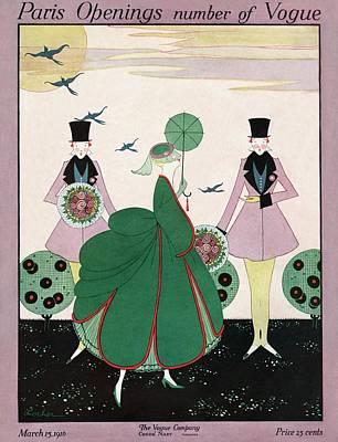1916 Photograph - A Vogue Cover Of A Woman Wearing A Green Dress by Robert E. Locher