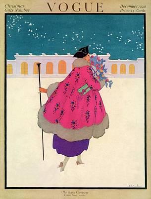 A Vogue Cover Of A Woman Wearing A Pink Coat Art Print by Helen Dryden