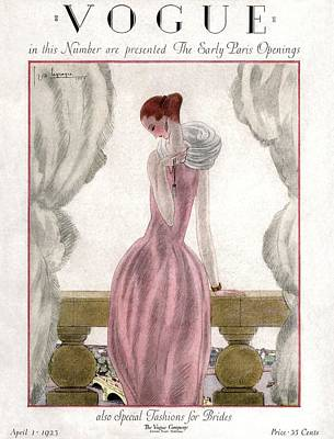 Curtains Photograph - A Vogue Cover Of A Woman Wearing A Pink Dress by Georges Lepape