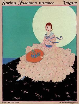 A Vogue Cover Of A Woman Wearing A Pink Dress Art Print by Helen Dryden