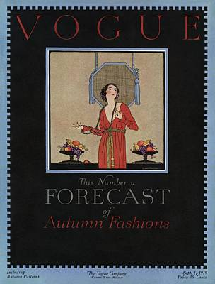 A Vogue Cover Of A Woman Wearing A Red Dress Print by Dorothy Holman
