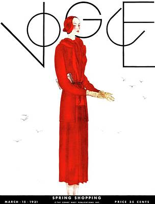 March Photograph - A Vogue Cover Of A Woman Wearing A Red Suit by Georges Lepape