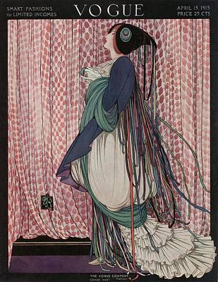 A Vogue Cover Of A Woman Wearing A Ribboned Dress Art Print