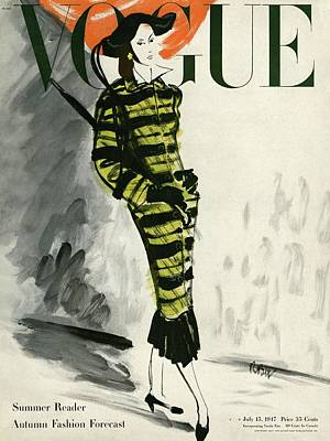 A Vogue Cover Of A Woman Wearing A Striped Coat Art Print by Rene Bouet-Willaumez
