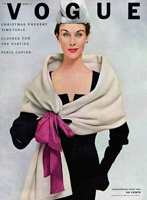 1950s Fashion Photograph - A Vogue Cover Of A Woman Wearing Balenciaga by Frances Mclaughlin-Gill