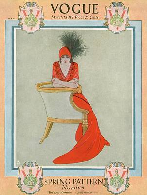 Vintage Hats Photograph - A Vogue Cover Of A Woman Wearing Orange by Arthur Finley