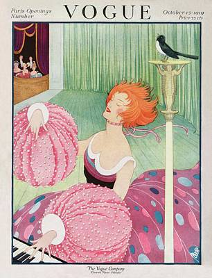 Leisure Photograph - A Vogue Cover Of A Woman Wearing Pink by George Wolfe Plank