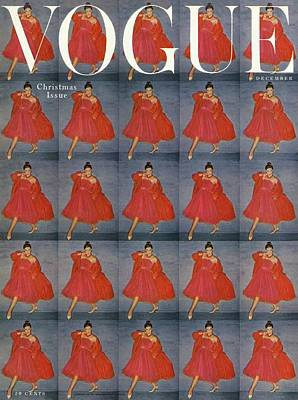1950s Fashion Photograph - A Vogue Cover Of A Woman Wearing Red by Clifford Coffin