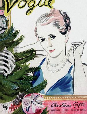 Necklace Photograph - A Vogue Cover Of A Woman With A Christmas Tree by Carl Eric Erickson