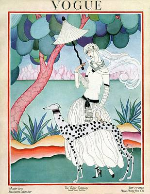 Parasol Photograph - A Vogue Cover Of A Woman With A Dalmatian by Helen Dryden