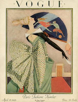 Men's Fashion Photograph - A Vogue Cover Of A Woman With A Fan by George Wolfe Plank