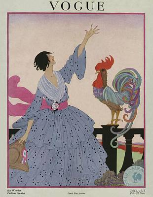 1918 Photograph - A Vogue Cover Of A Woman With A Rooster by Helen Dryden